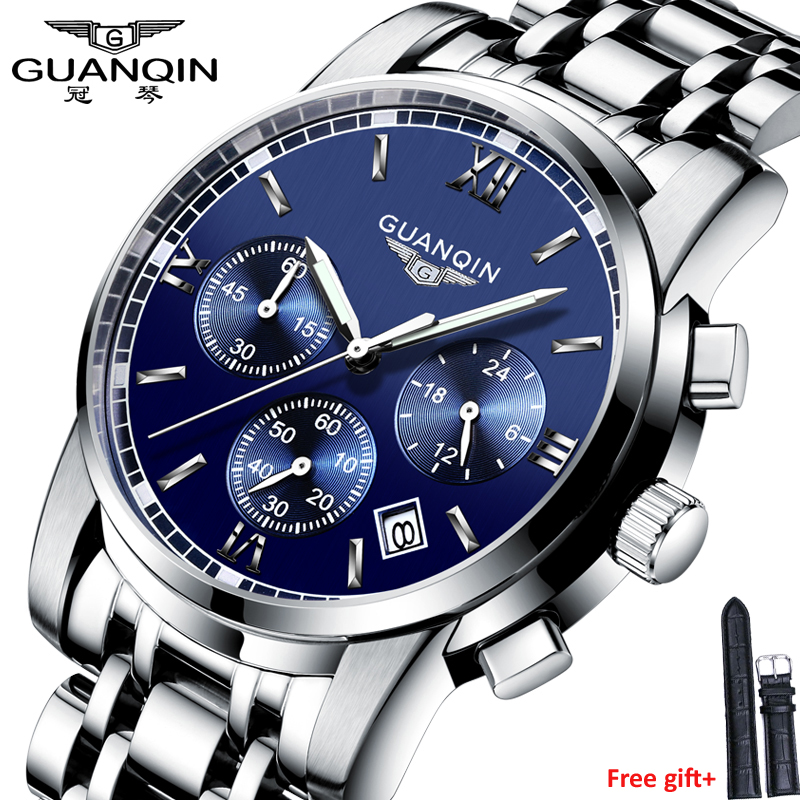 Fashion watch men Luxury top brand GUANQIN steel luminous waterproof Wristwatch multifunction Men Clock quartz