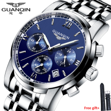 Fashion watch men Luxury top brand GUANQIN steel men watch luminous waterproof Wristwatch multifunction Men Clock quartz watch цена 2017