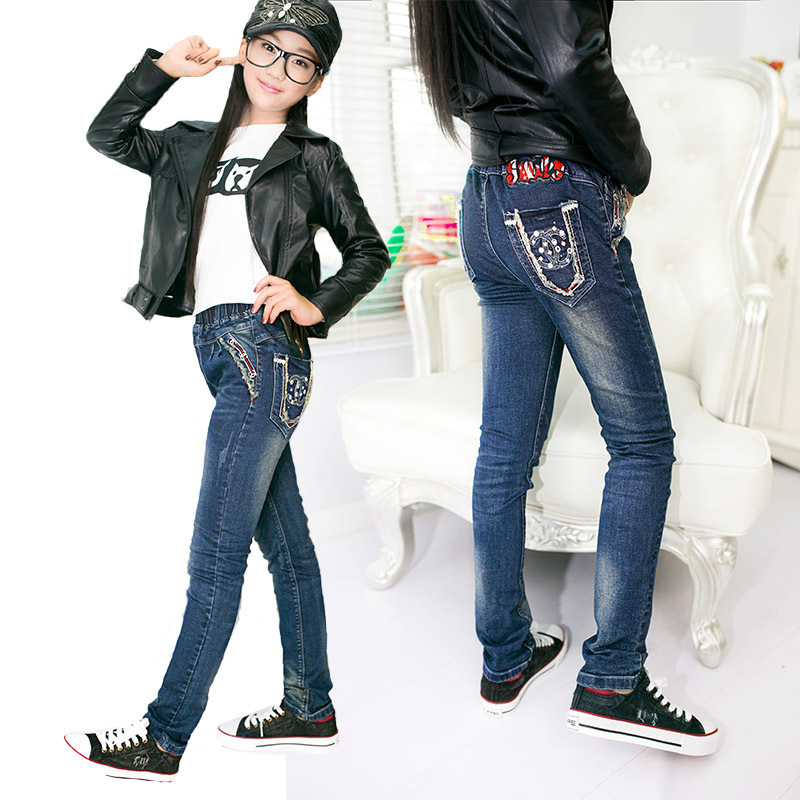 49a120baf6a8 2016 Teenage Girls Jeans Autumn   Spring Drill Design Children Denim ...