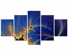 5 Pieces Free Shipping Painting Wall Pictures For Living Room Home Decor Abstract Linear Colorful Canvas Art Framed