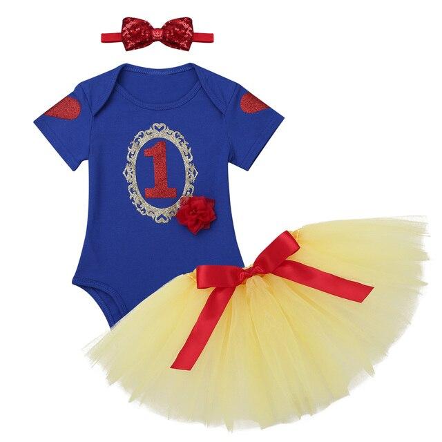 4cc8fc16f9a Infantil Baby Girls First Birthday Clothes Newborn Fairy Tale Princess  Costume Toddler Romper with Tutu Dress Set