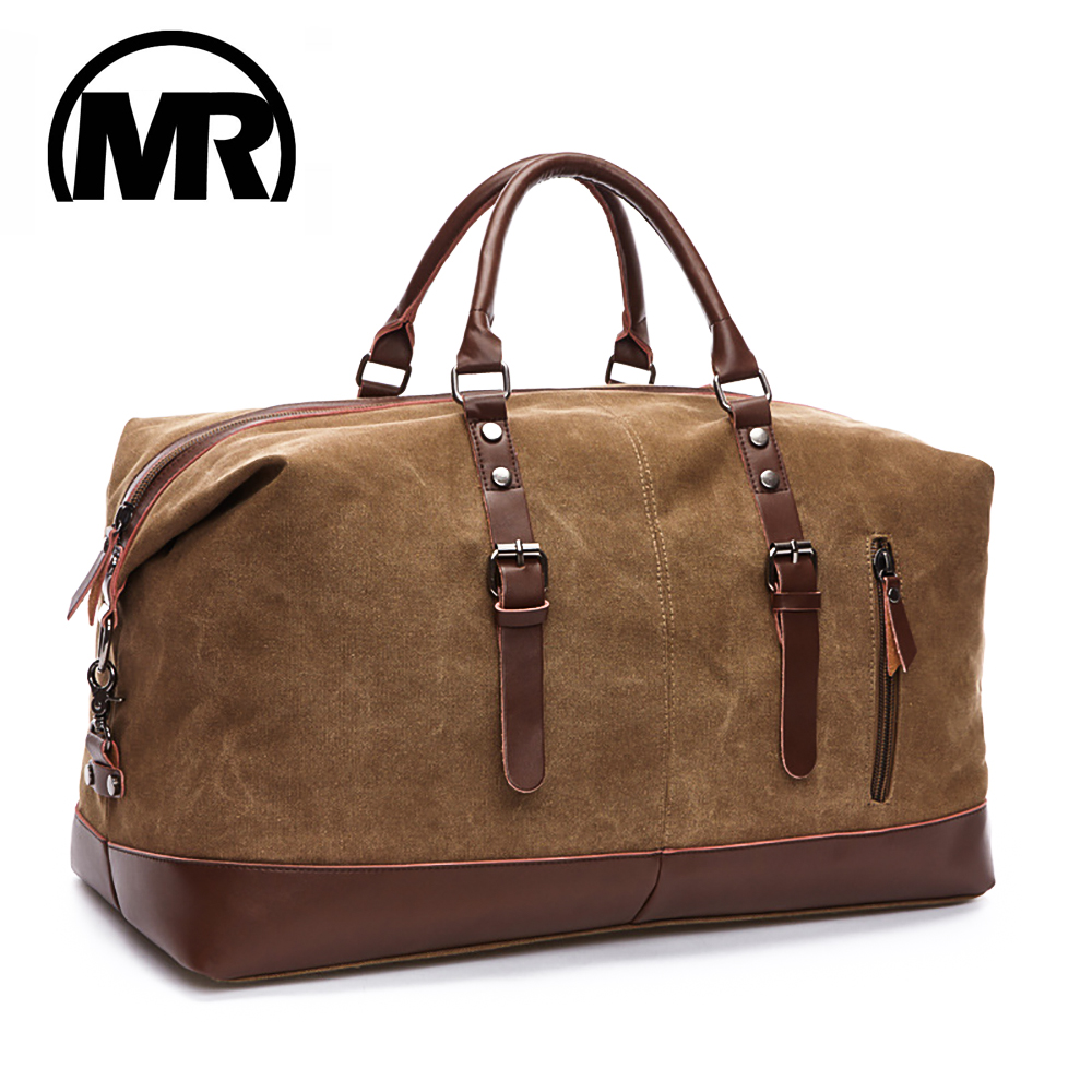 MARKROYAL Men Travel Bags M Hand Luggage Bags Canvas Leather Travel Duffel Bags Shoulder Bags Large Capacity Weekend Overnight