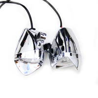 1 Pair Triangle Style Chrome Motorcycle High Quality ABS LED Fog Spot Lights Headlight Lamp DC12V