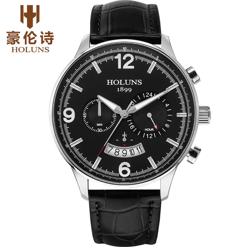 HOLUNS Men's Leather Strap Watch 24 Hour Quartz Watches Casual Wristwatch Male Waterproof Luxury Round Glass Dial Gift