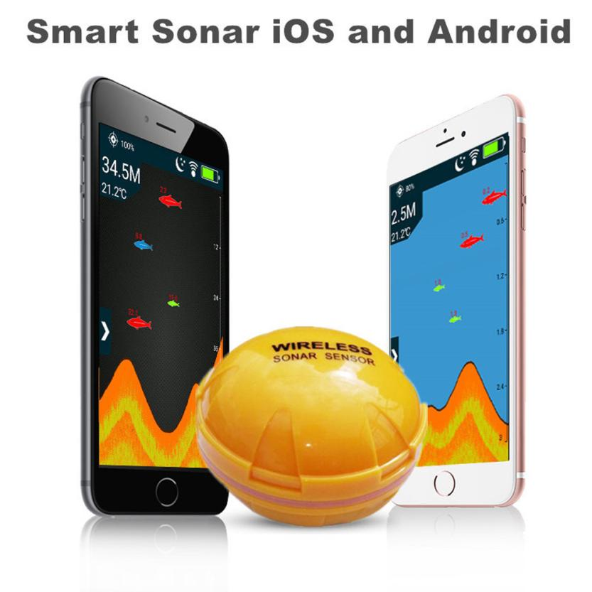 1PC 125kHz Wireless Sonar Fish Finder Sea Lake Fish Detect For Smartphone IOS/Android Bluetooth Sonar fishing Identify Tool P5 portable bluetooth fish finder sea fish detect device for ios for android 25m 80ft sonar fishfinder wireless fishing detector