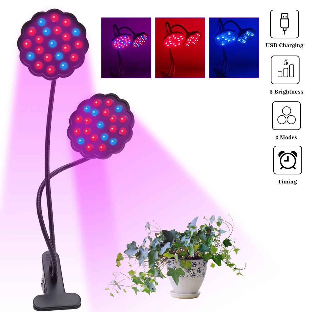 LED à spectre complet lumière de croissance Clip-on 20 W plantes Phyto lampe 5 niveaux contrôleur de synchronisation Dimmable tente intérieure serre Fitolampy