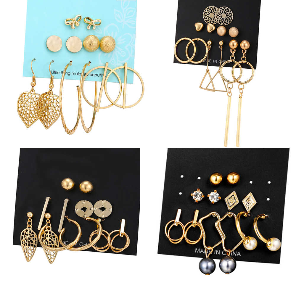 17KM Fashion Geometric Gold Color Stud Earrings Set For Women Girls Metal Elephant Moon Letter Earring Handmade Female Jewelry
