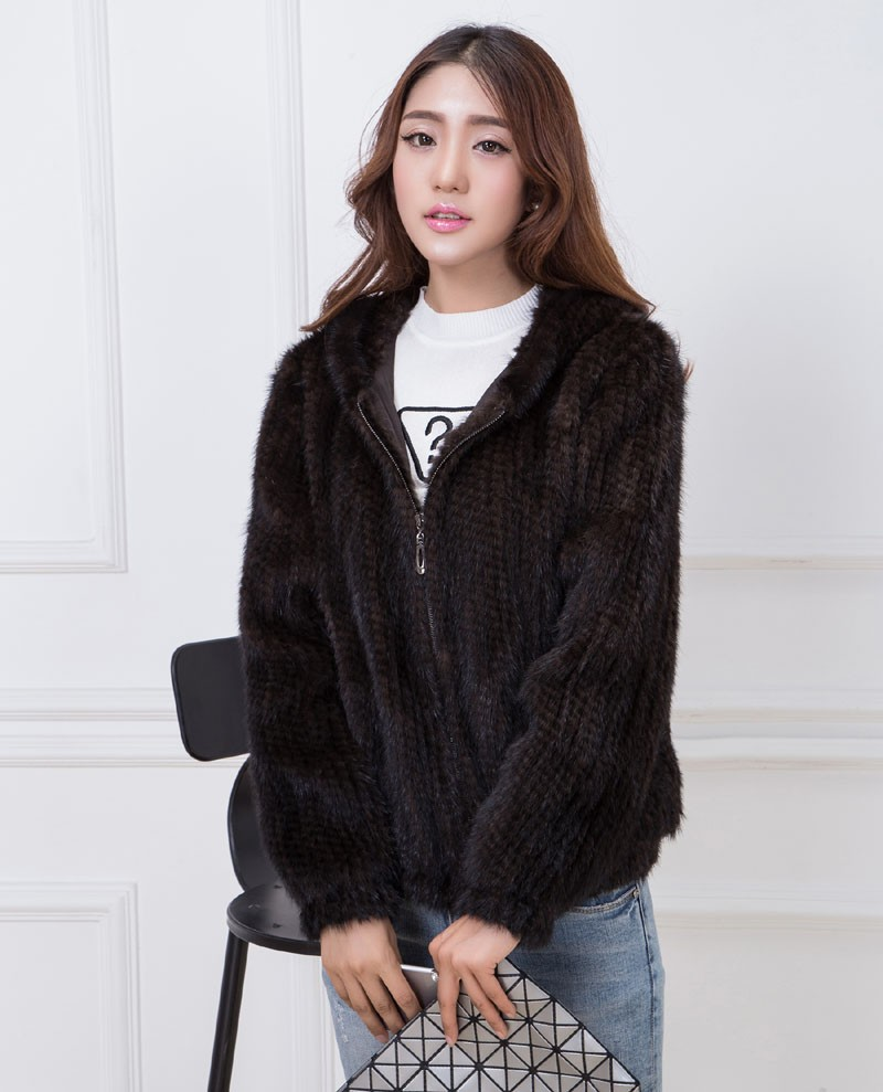 knit mink fur coat brown 2