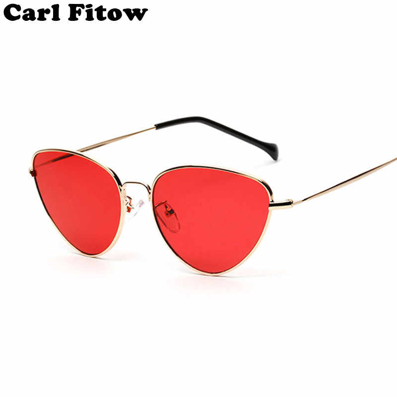 Trendy Tinted Color Vintage Shaped Sun glasses Famle Drop Shaped Ocean Cat Eye Sunglasses Women Brand Designer Oculos de sol