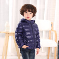 Boys Winter Down Coat Baby Light Down Jacket Teens White Duck Down Zipper Hooded Children's Clothing Candy Color Outerwear
