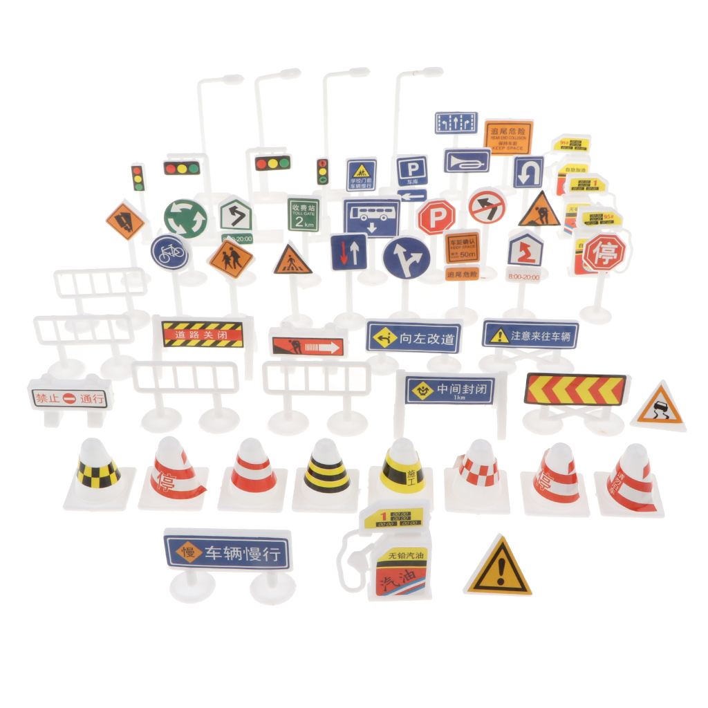 Kids Street Road Traffic Signs Figure Playset Kid Educational Toy Car & Train Simulation Scene Building Set - 56 Pieces