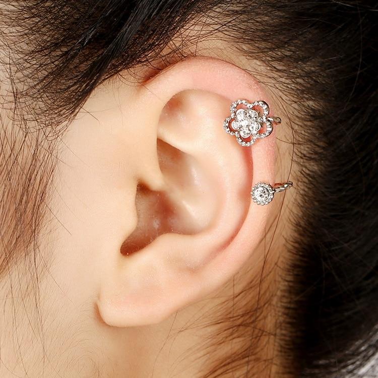 413 Punk Rock Fashion Crystal Zircon Ear Cuff Wrap ...