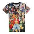 3D Camiseta del verano Animación One Piece Personajes Tie Dye Camiseta Luffy/Ace/Sabo/Graphic Tees mujeres/Hombres Casual Tops Cltothes