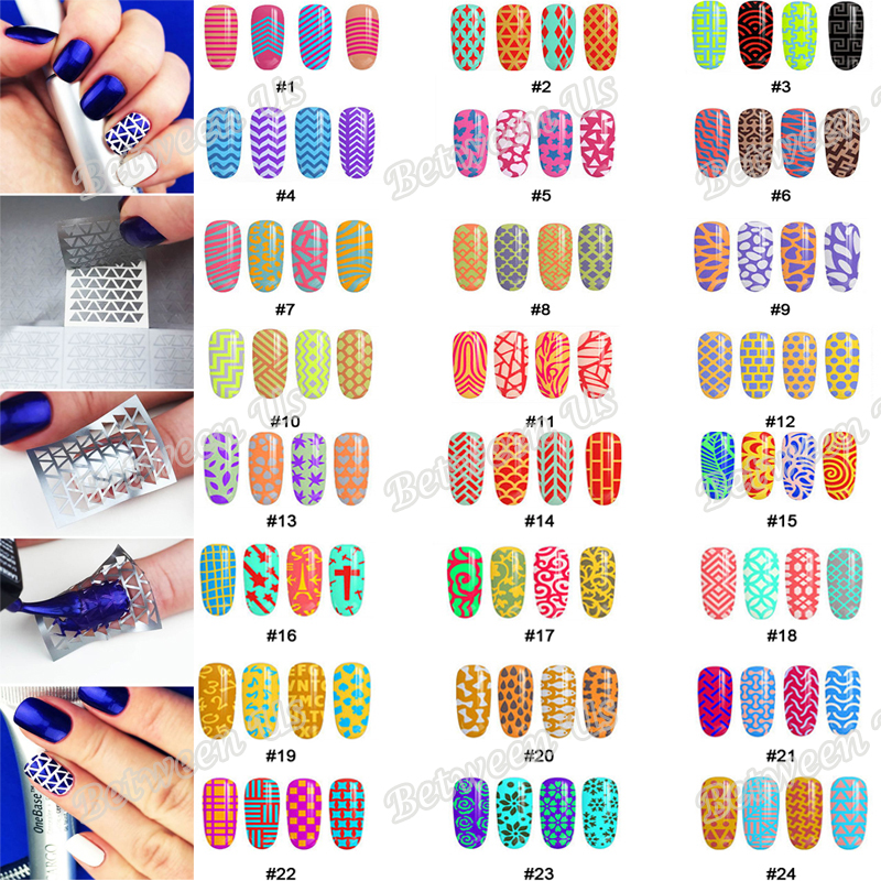 New 12Tips/Sheet Nail Vinyls Hollow Irregular Grid Stencil Multiple Use Nail Art  Stencils Stickers 24 Styles For Choice 3 designs in 1 sheet laser vinyls nail hollow sticker gold grid irregular patterns tips tool for nail art stencil manicure sa350
