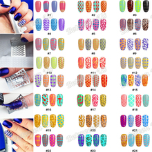 New 12Tips/Sheet Nail Vinyls Hollow Irregular Grid Stencil Multiple Use Nail Art  Stencils Stickers 24 Styles For Choice