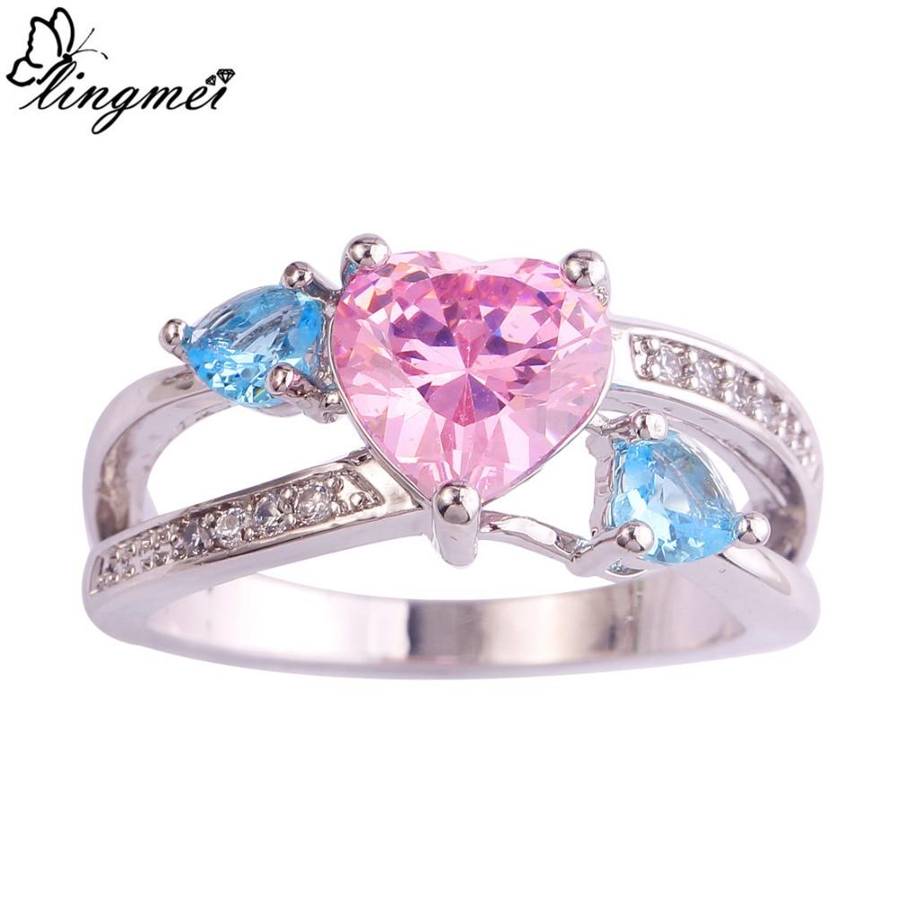pink wedding rings Sz 5 10 Princess Cut Pink sapphire 10kt black Gold Filled Wedding Ring set gift