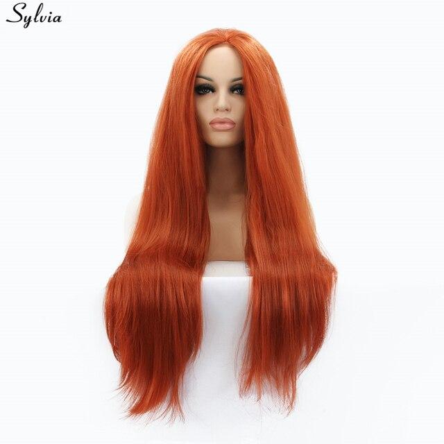Sylvia Yaki Capelli Lisci Parrucca Anteriore Del Merletto Sintetica  Arancione Dei Capelli per Le Donne Lungo 5ae540fbdea3