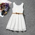 Verano estilo Coreano niñas ropa de encaje de flores vestido sin mangas arco vestido para bebé niños traje niños vestido infantil