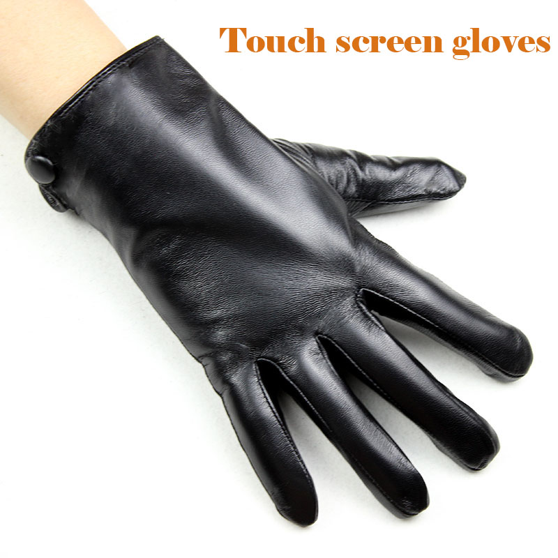Sheepskin Leather Gloves Men's Winter Thick Rabbit Fur Lining Warm Outdoor Windproof Cold Touch Screen Leather Gloves