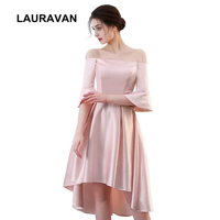 high low 2019 off shoulder simple elegant light pink sleeved satin evening wear gown women dresses ball dress satin dresses
