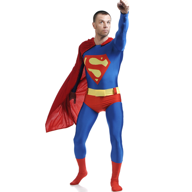 classic superman costume mens superhero costumes lycra spandex zentai suit with cloak kids adult halloween costumes - Classic Mens Halloween Costumes