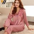 Mulheres De Cetim De Seda Pijamas Set Pijama Pijama Sleepwear Conjunto Loungewear M, L, XL, 2XL, 3XL Além Disso Sólidos 5 Cores Aceitar Personalizado