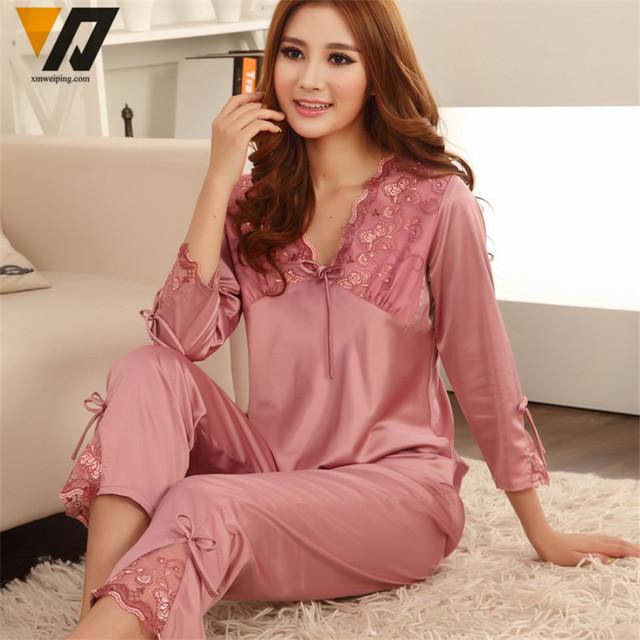 Para mujer de Satén de Seda Pajamas Set Pijama pijama Conjunto ropa de Dormir Loungewear M, L, XL, 2XL, 3XL Plus Solid 5 Colores Acepta Modificado