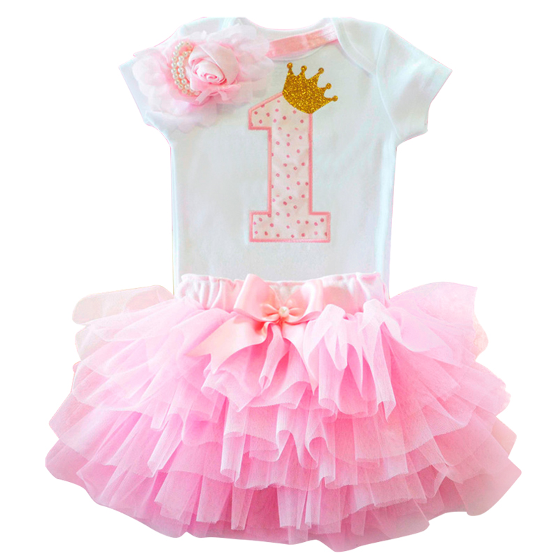 Sweet Pink My Little Girl First 1st Birthday Party Dress Tutu Cake Smash Outfits Infant Dress Baby Girl Baptism Clothes 9 12M infant girl clothes party costume newborn baby romper dress minnie mickey tutu dress baby girl climbing bebe 1st birthday gift