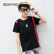 O-Neck Short Thread Threadborne Seamless Red Striped Stitching Cotton Boy T-Shirt Summer New 2017Juvenile Sports Hip-Hop TShirt