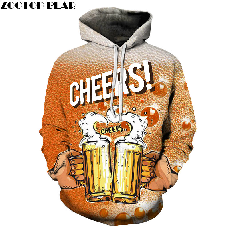 Orange Beer Cheers 3D Print Brand Casual Hoody Sweatshirt Men Tracksuit Hoodie Male Pullover Streetwear Coat DropShip ZOOTOPBEAR