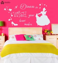 Princess Cartoon Girls Room Wall Decal Quotes Dream Is Wish Your Heart Makes Sticker Cinderella Shoe For Kids DIYSY202