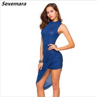 Woman polyester dress circle collar with no sleeveless and high waist belt, with a casual fashion party dress