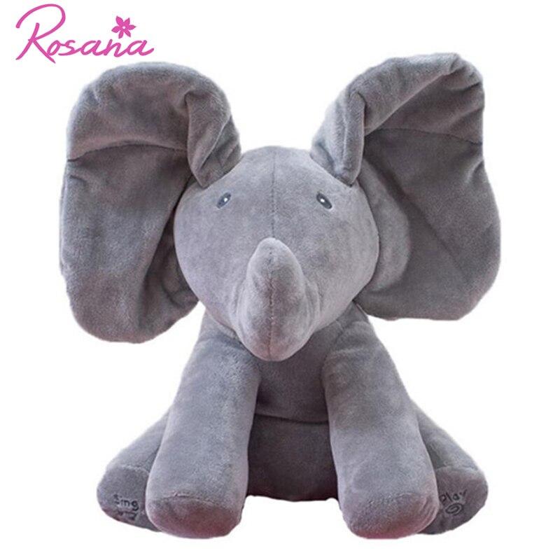 30 cm Peek Boo Parler Éléphant En Peluche Poupée Animaux En Peluche Hide Seek Musicale Interactive Jouent le Cadeau de Jouet pour Enfants Enfants ami