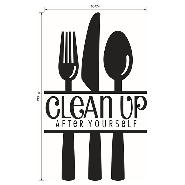 CLEAN UP Kitchen Cooking Utensil Spatula Vinyl Wall Stickers Quote Art Decorative Lettering Decal Poster Home