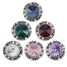 10pcs/lot 18mm Crystal Round Snap Button Interchangeable Jewelry Accessory Can Move Replaceable Button Snap Jewelry For Bracelet