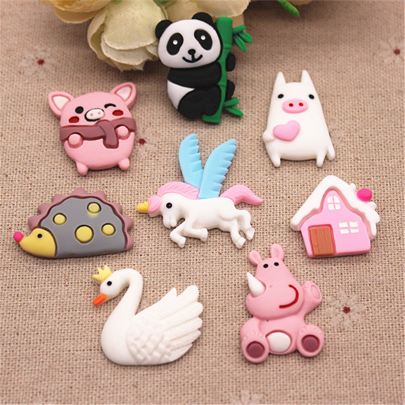 10pcs Resin New Mix Design Cute Animals Flatback Cabochon Charm DIY Phone/Craft Decoration Accessories