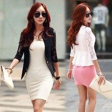 Women Blazers Feminino Coat Women Slim Lace Blazers Jackets Spring Autumn Long Sleeve Patchwork Blazer Femme Suit White Black