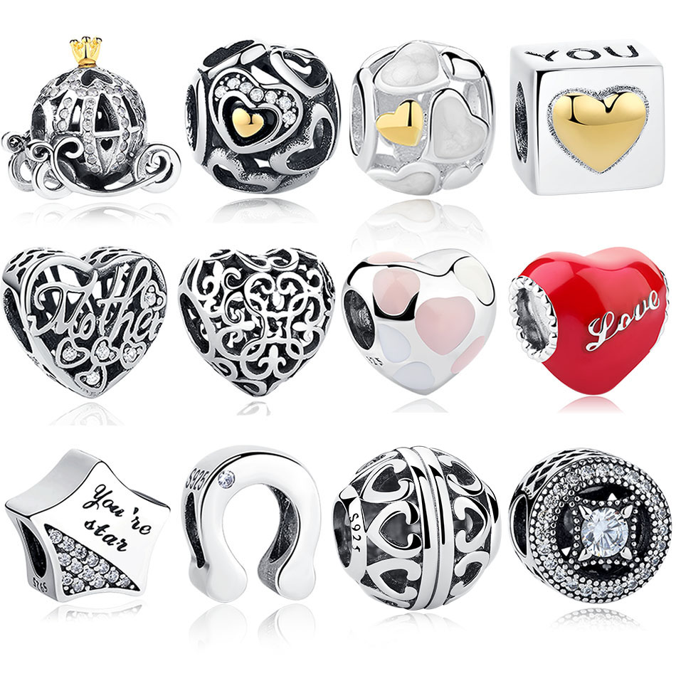 0dc137a55560a US $4.38 30% OFF|Authentic 925 Sterling Silver European Star Crown Heart  Charms Beads Fit Original Pandora Bracelet DIY Jewelry Christmas Gift-in ...