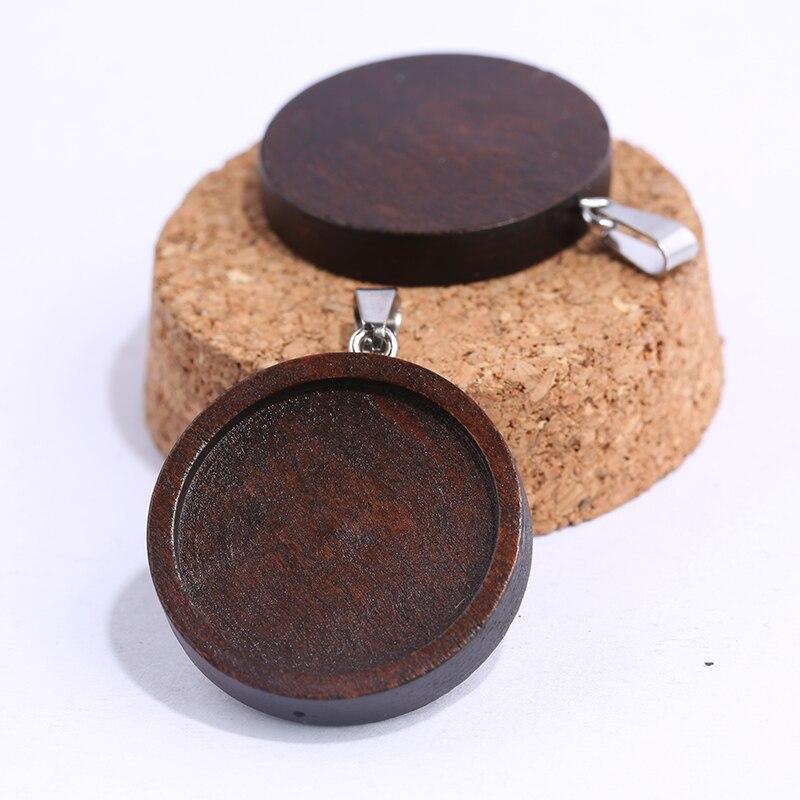 onwear 10pcs brown wood cabochon base 25mm dia blank wooden pendant trays diy jewelry