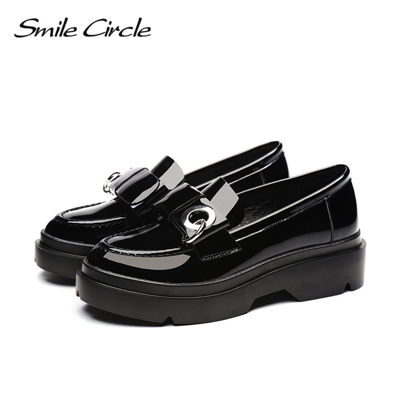 Charol Redonda 2018 Círculo Británico 1 Plataforma Moda Mujer Zapatos De Negro Plana Punta A98a301 Sonrisa Para Bowknot Estilo Casuales dYw1q775