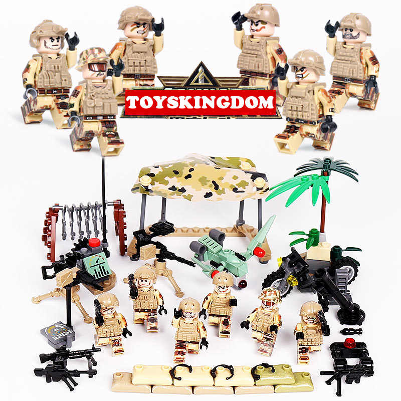 Modern military Delta Force Black Hawk action minifigs building block ww2 brickmania army figures weapon gun motorcycle toys