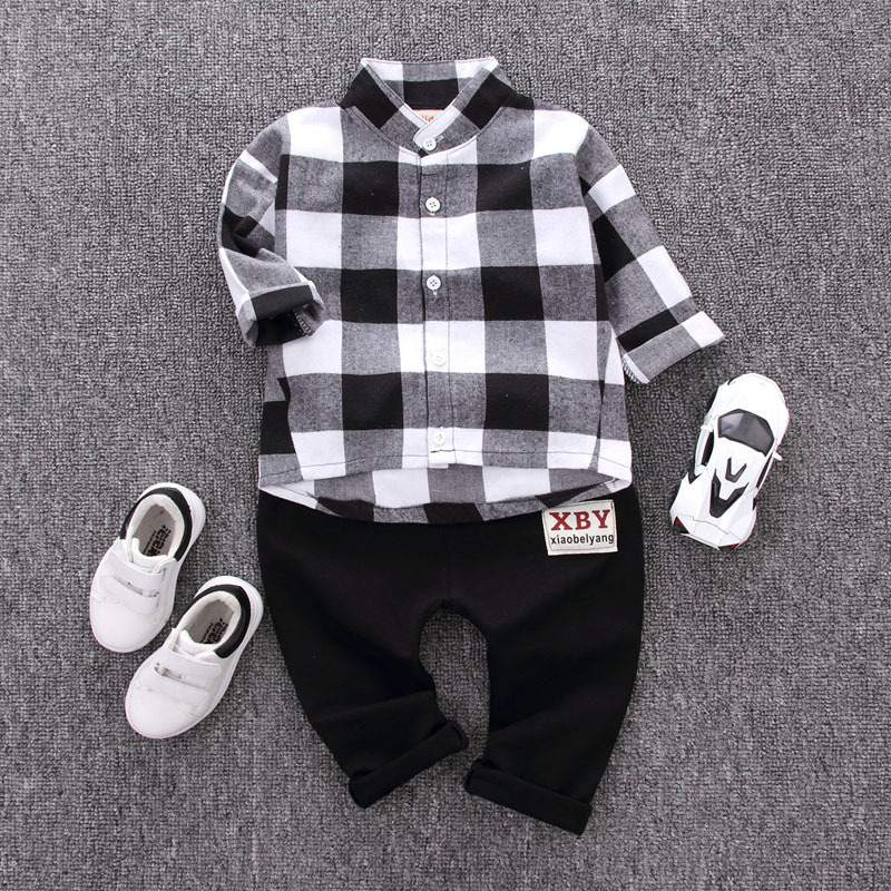 2018 New Autumn Spring  Fashion Kids  Gentleman Suit Boy Clothes Long-sleeve Cotton Plaid Shirt Pants 2Pcs Casual Clothing Set 2016 fashion kids boys clothing set spring autumn children gentleman set long sleeve plaid shirts t shirt jeans baby boy clothes