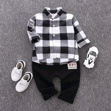 цена на Autumn Spring  Fashion Kids  Gentleman Suit Boy Clothes Long-sleeve Cotton Plaid Shirt Pants 2Pcs Clothing Set