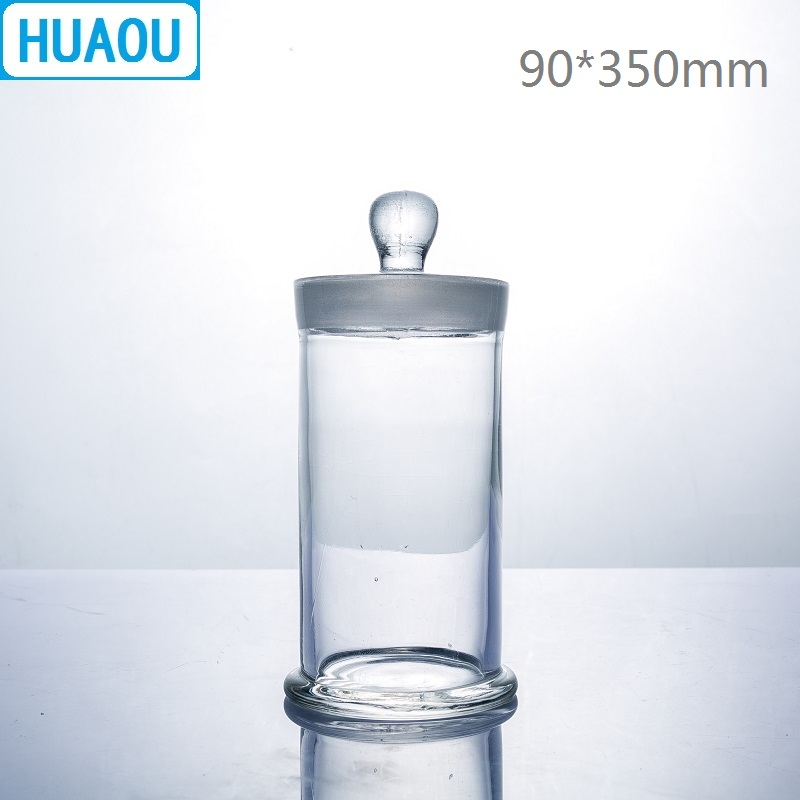 HUAOU 90*350mm Specimen Jar With Knob And Ground-In Glass Stopper Medical Formalin Formaldehyde Display Bottle