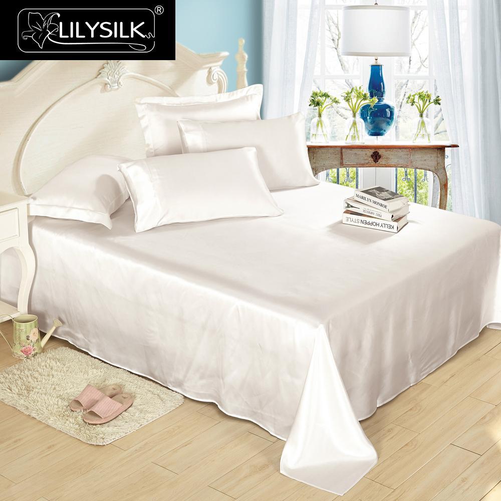 LilySilk แบนแผ่นผ้าไหมหม่อนธรรมชาติ 100 19 momme Silk หรูหราเตียง king queen สิ่งทอหน้าแรกจัดส่งฟรี-ใน แผ่น จาก บ้านและสวน บน   1