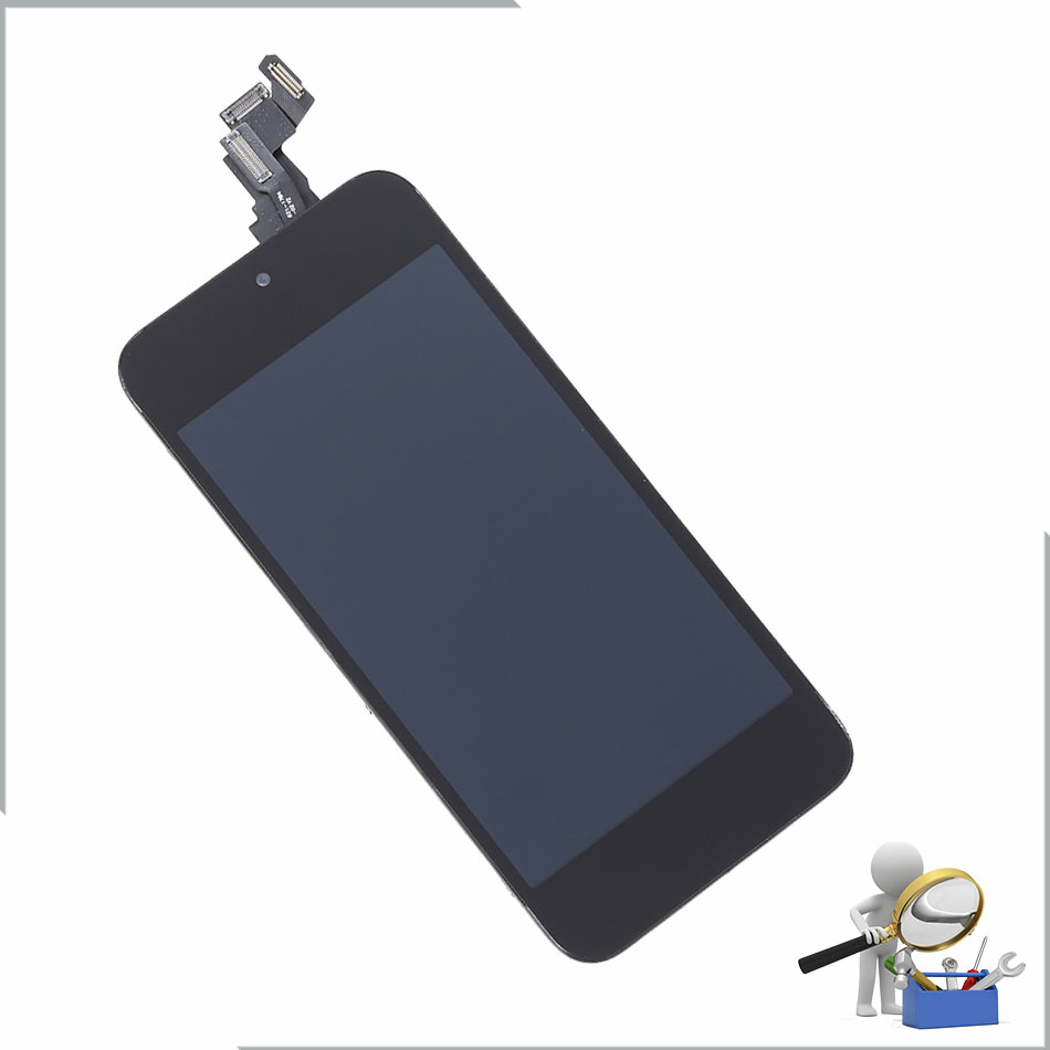 5PCS/LOT Complete LCD Display Touch Screen Digitizer+Home Button+Front Camera+Sensor Flex Cable for iPhone 5c LCD Assembly