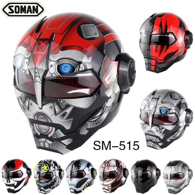 Soman Ironman Full Face Helmet Vintage Motorcycle Helmet Motocross Off-road Head protection Dirt Bike Riding Racing DOT Helmet フル フェイス アイアン マン