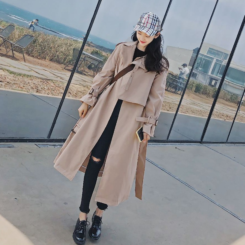 Spring Autumn Women's Windbreaker Lapel Long Sleeve Bandage Casual Loose Long Trench Female Coat 2019 New Fashion Clothing
