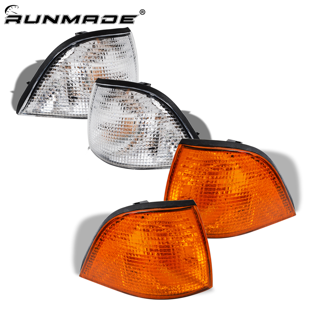 Runmade 1Pair For 1992-1998 BMW E36 3-Series 2DR Coupe Corner Light Day Light Lamps Clear Yellow