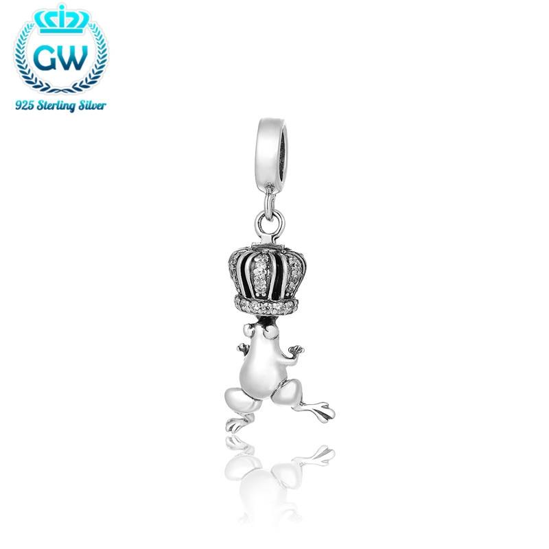 Pendentif Argent Argent grenouille charme couronne & Pendentif Animal Fit Designer mode bracelet bricolage 925 Argent bijoux S204-30